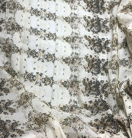Ecru Snakeskin - Cotton Voile Fabric