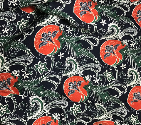 Orange Navy & Green Floral Medallion Paisley - Crepe Fabric