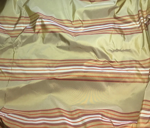 Gold & Orange Stripes - Silk Taffeta