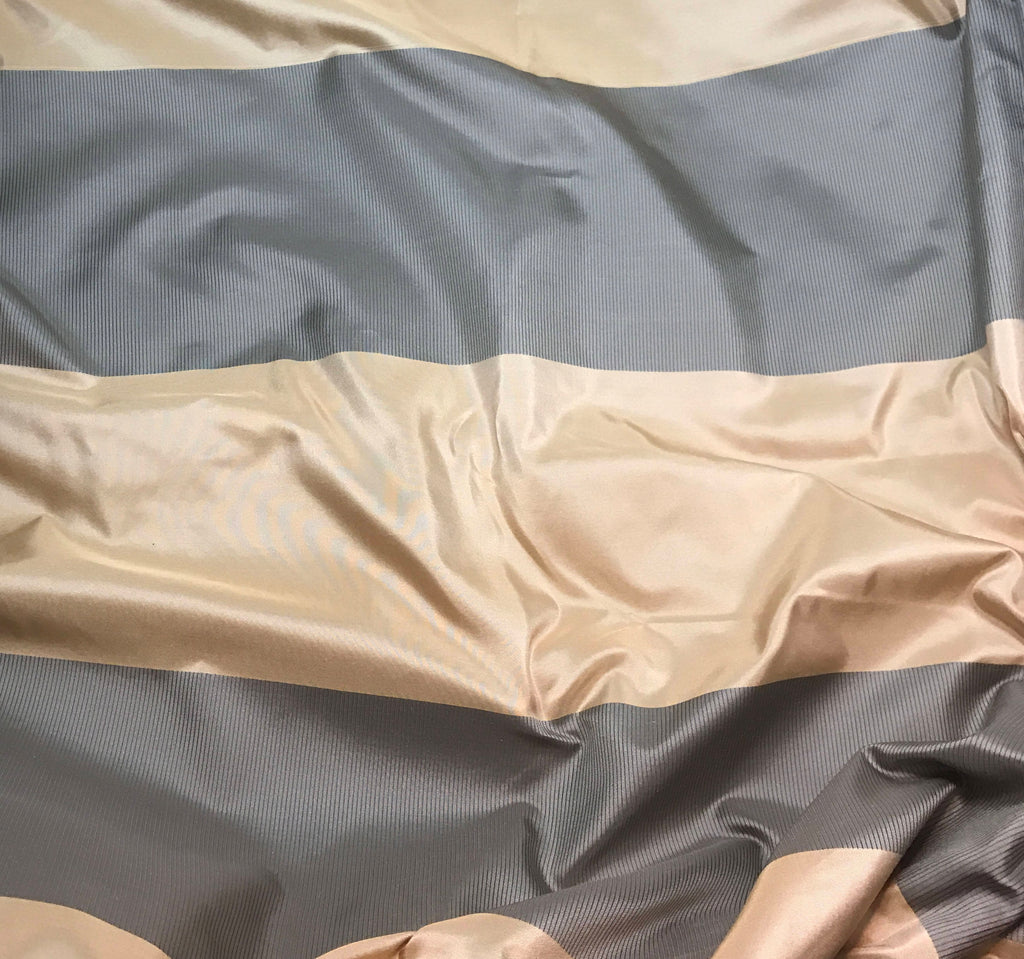 Gold & Charcoal Satin Stripes - Silk Taffeta