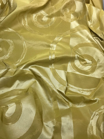 Olive Green Swirl - Silk Taffeta Fabric