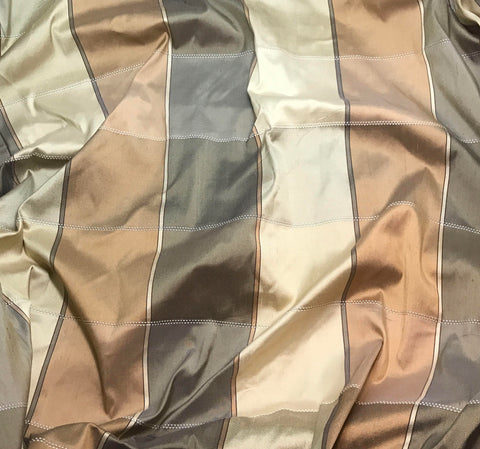Brown Gold & Gray Check - Silk Dupioni Fabric