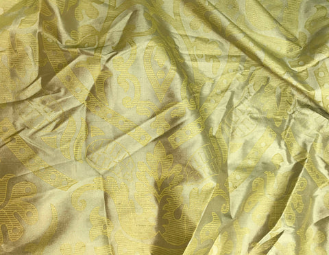 Sage & Gold Damask - Silk Dupioni Fabric