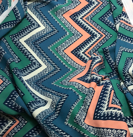 Teal Turquoise & Salmon Chevron - Polyester Georgette Fabric