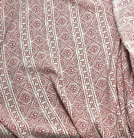 Red & White Floral Stripe - Crepe Fabric