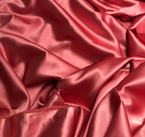 Coral Pink - Faux Silk Charmeuse Satin Fabric