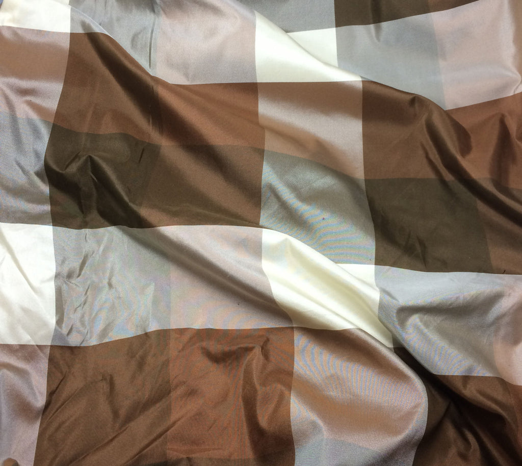 Brown Check - Silk Taffeta