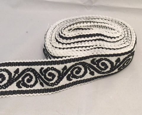 "Vintage Wide Jacquard Ribbon - Black & White Scroll (2-7/8"" wide)"