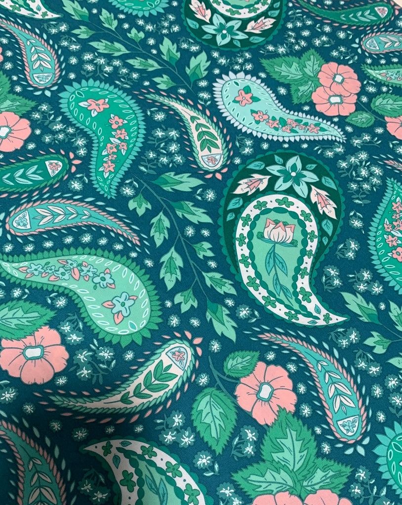 Cultivating Botah Jade Green Paisley - Art Gallery 100% Cotton Fabric