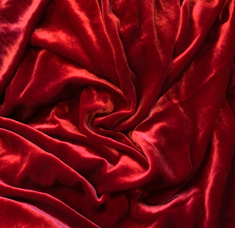 Ruby Red - Silk Velvet Fabric