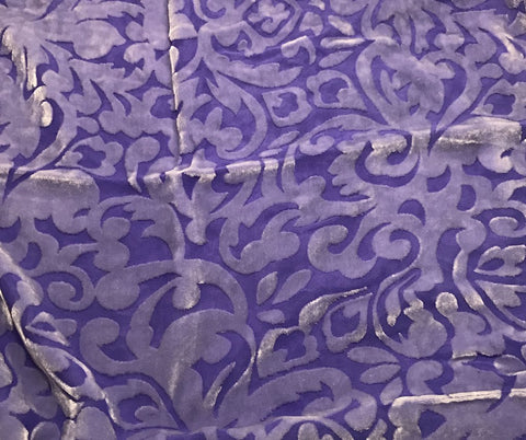 Iris Purple Scroll - Hand Dyed Burnout Silk Velvet