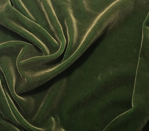 Antique Gold on Kelly Green - Hand Painted Silk Velvet Fabric