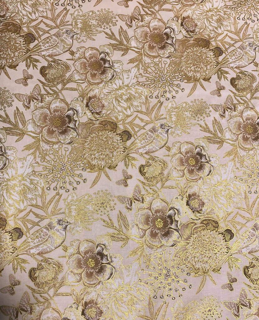 Floral with Birds on Cream  - Kensington Park - by Deborah Edwards for Northcott Cotton Fabric