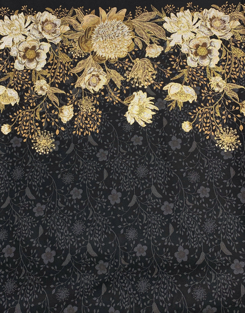 Kensington Park on Black - Kensington Park - by Deborah Edwards for Northcott Cotton Fabric
