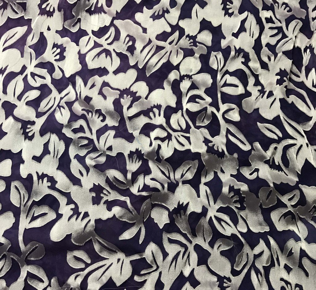 Lavender Purple Floral - Hand Dyed Burnout Devore Silk Satin