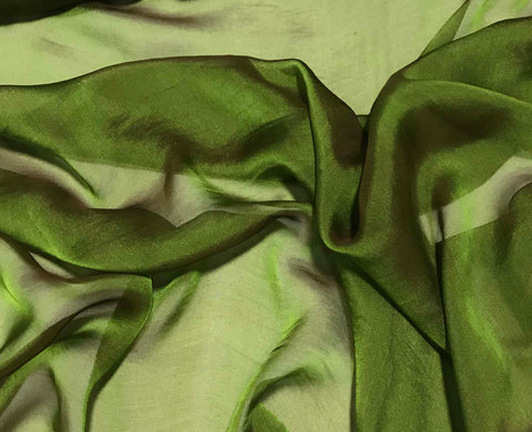 Leaf Green - Iridescent Silk Chiffon