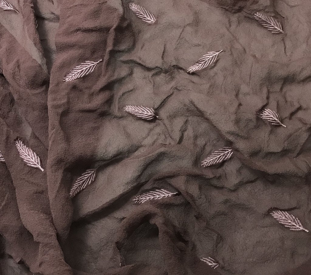 Mahogany - Hand Dyed Embroidered Leaves Silk Chiffon