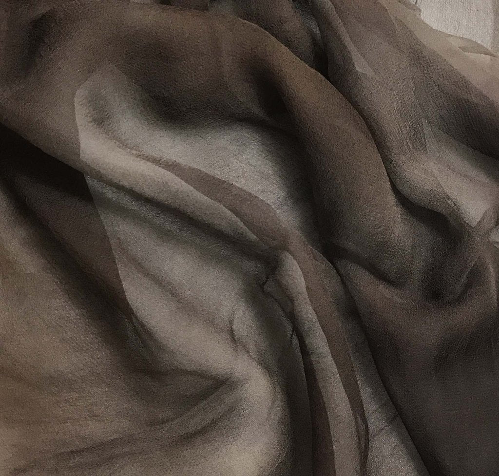 Mahogany Brown - 3mm Hand Dyed Silk Gauze Chiffon