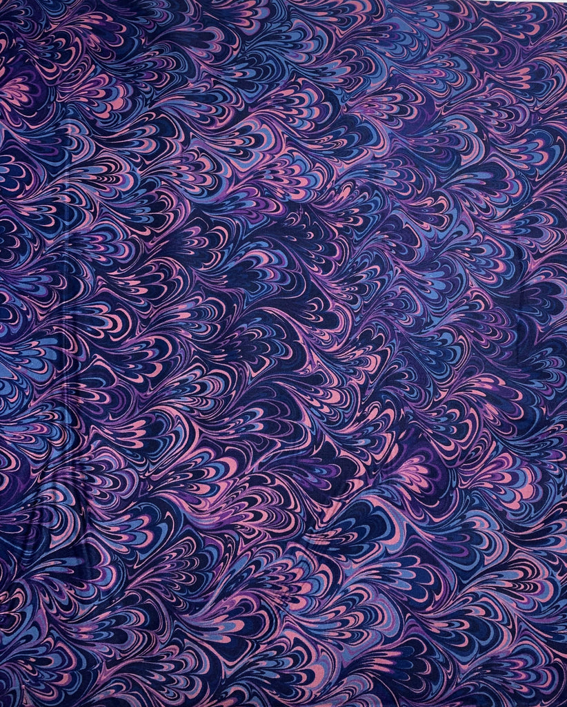 Blueberry Swirl Marble 2 - Art of Marbling - by Heather Fletcher for Northcott Cotton Fabric