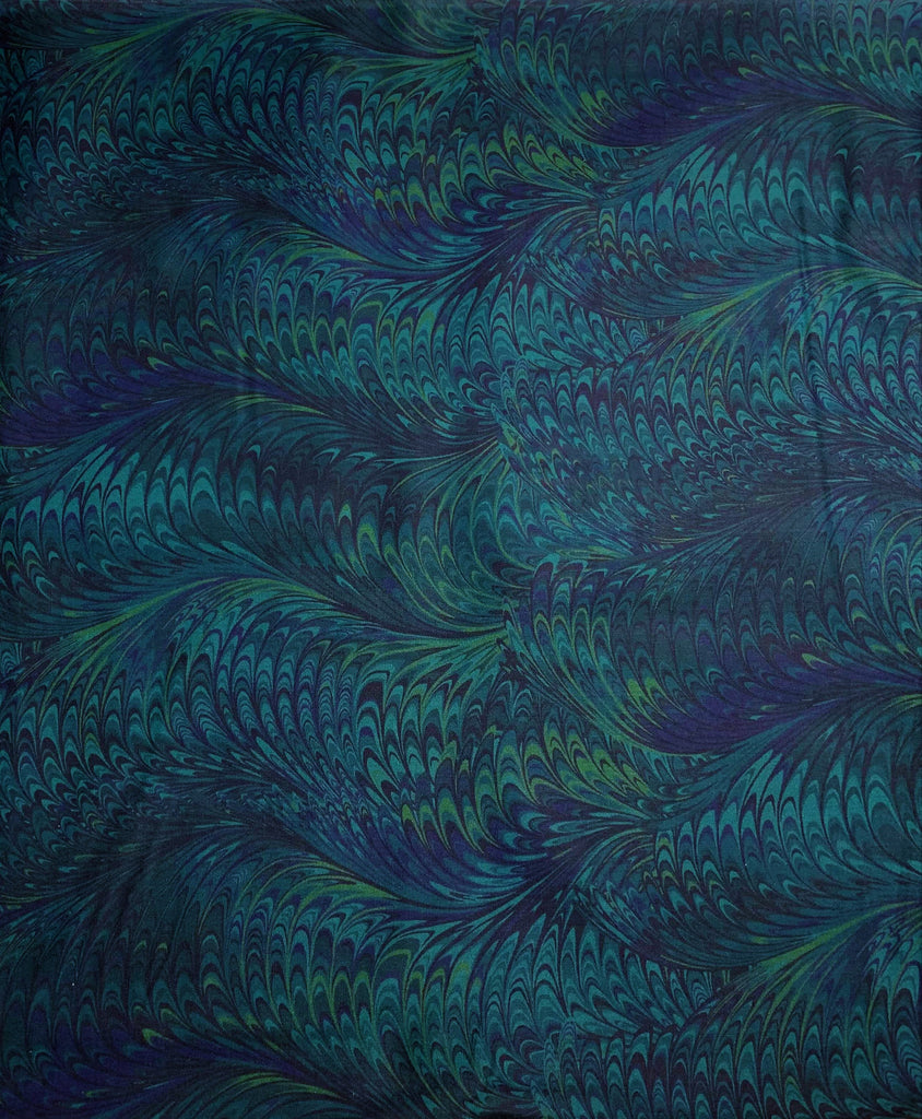 Blue Lagoon Marble 1 - Art of Marbling - by Heather Fletcher for Northcott Cotton Fabric