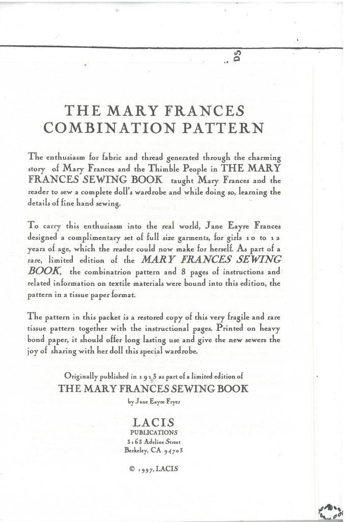 Mary Frances Combination Pattern - Lacis Publications