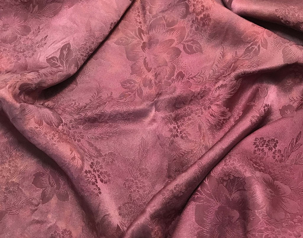 Mauve Floral - Hand Dyed Silk Jacquard