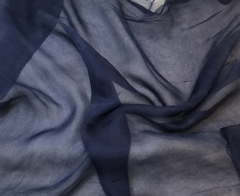 Midnight Blue - 3mm Hand Dyed Silk Gauze Chiffon