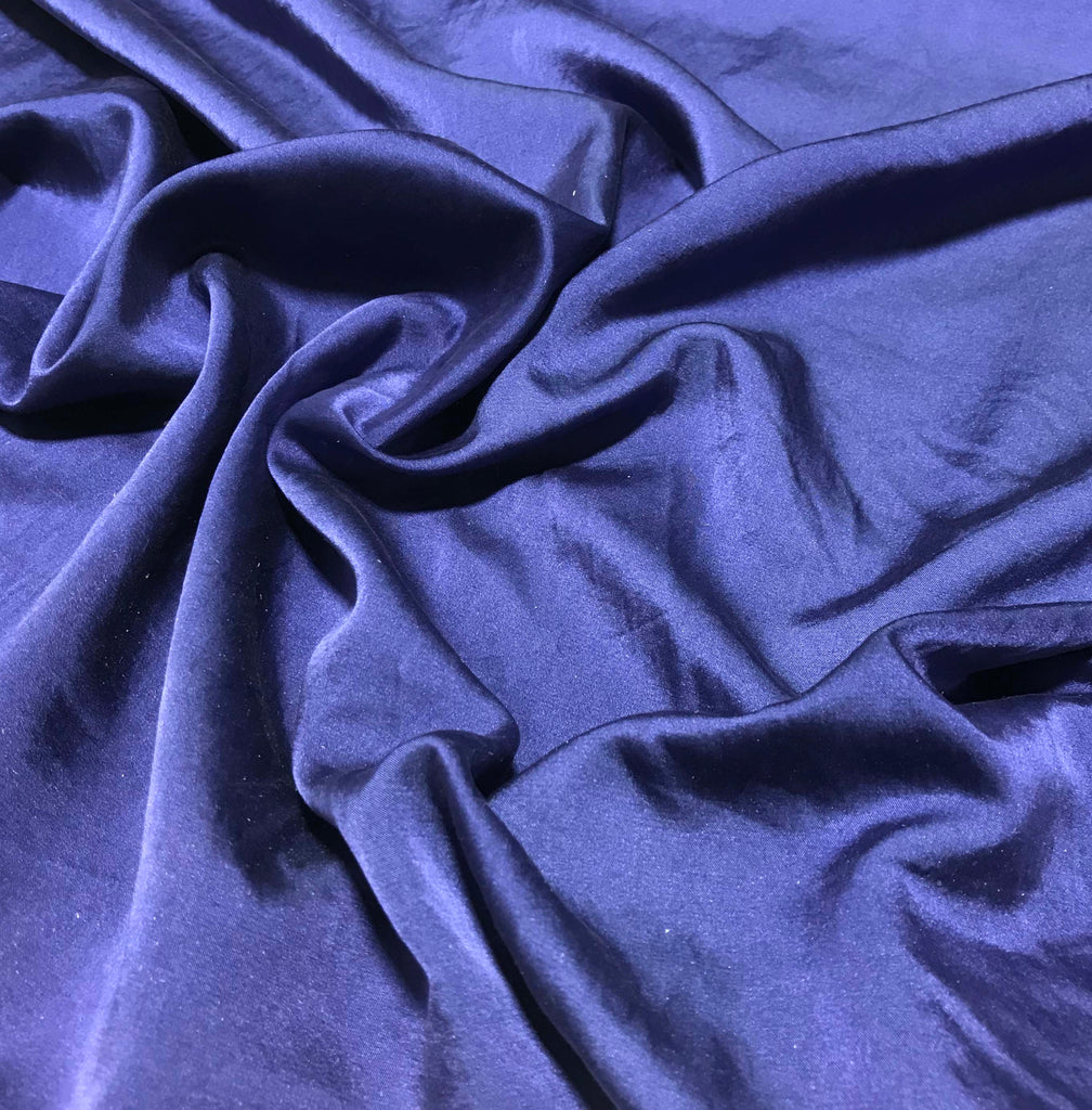 Midnight Blue - Hand Dyed Silk/Cotton Satin