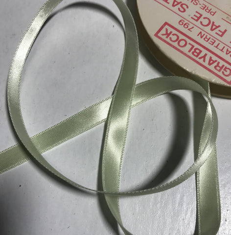 "Mint Green 3/8"" Vintage Grayblock Double Faced Satin Ribbon"