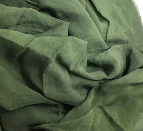 Moss Green - Hand Dyed Soft Silk Organza