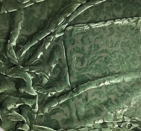 Moss Green Scroll - Hand Dyed Burnout Silk Velvet
