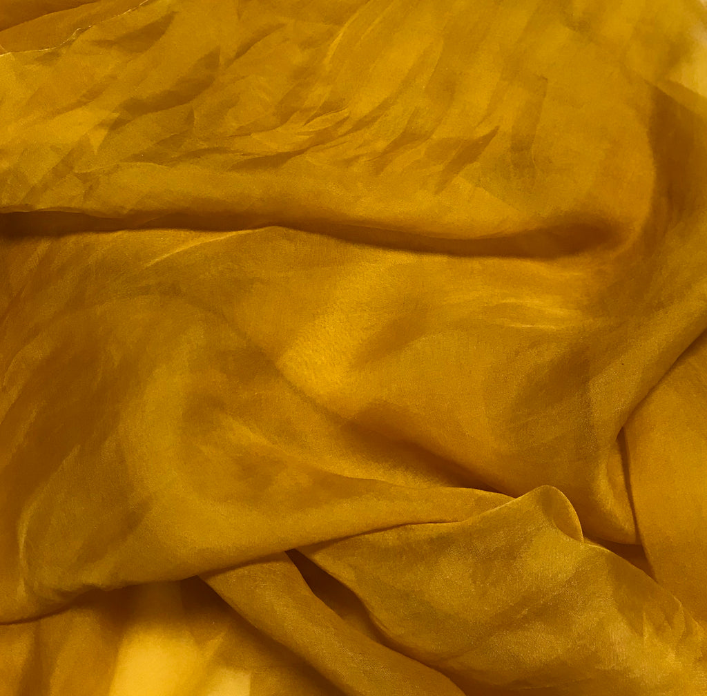 Honey Mustard Yellow - Hand Dyed Silk Organza