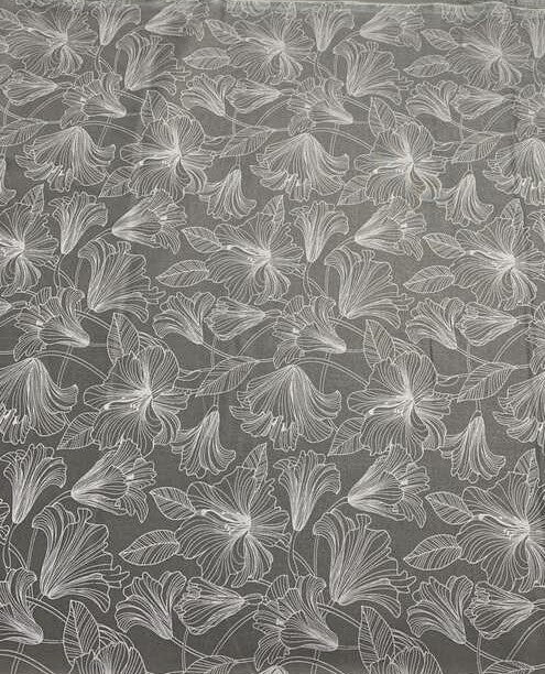 Gray/White Hibiscus Toss - Simply Neutral 2 - by Deborah Edwards for Northcott Cotton Fabric