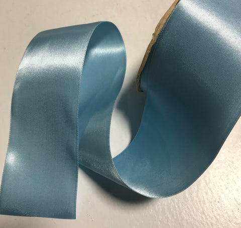 "New Turquoise 2 1/4"" Vintage Grayblock Double Faced Satin Ribbon"
