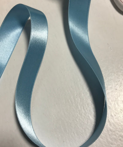 "New Turquoise 7/8"" Vintage Grayblock Double Faced Satin Ribbon"