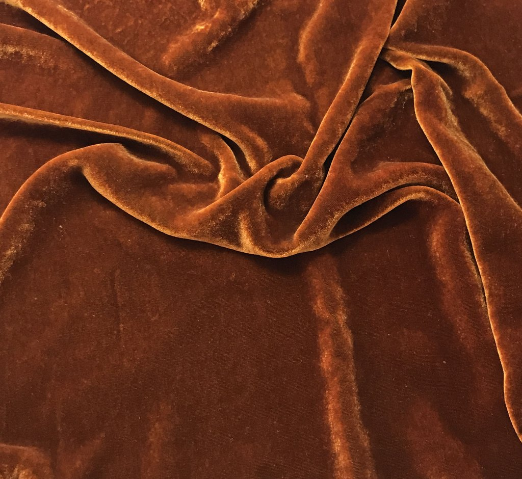 Orange Rust - Hand Dyed Silk Velvet