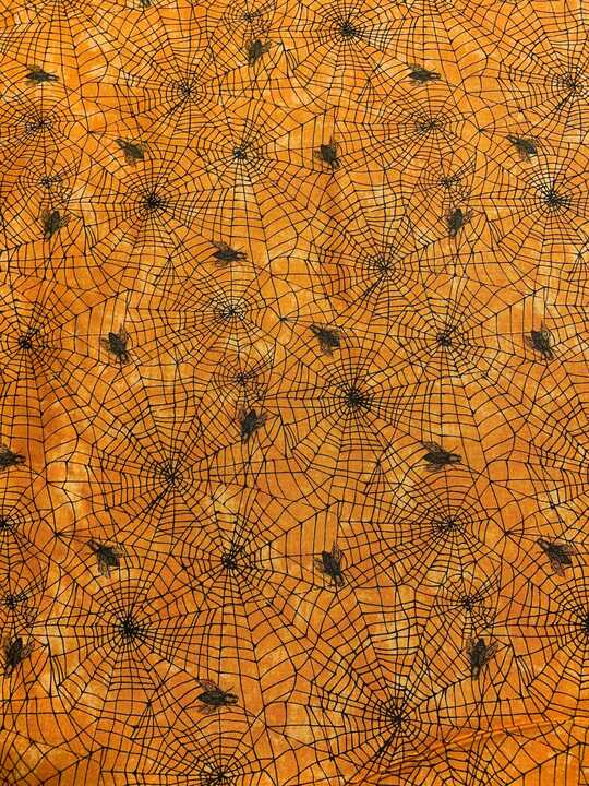 Spiderwebs on Orange - Wicked - by Nina Djuric for Northcott Fabrics
