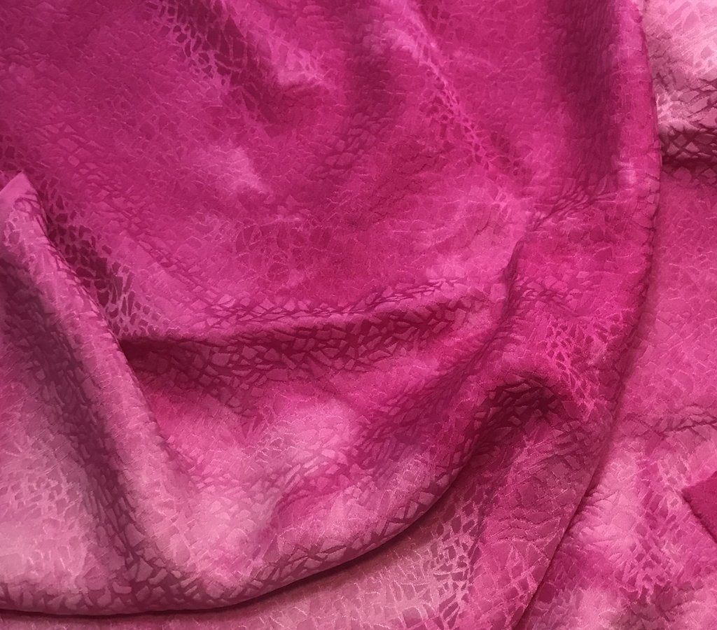 Orchid Pink Pebbles - Hand Dyed Silk Jacquard