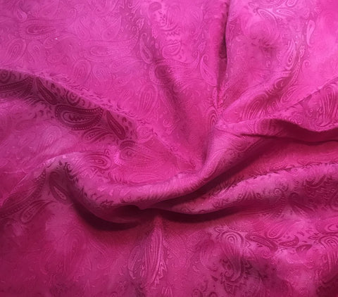 Orchid Pink Paisley - Hand Dyed Silk Jacquard