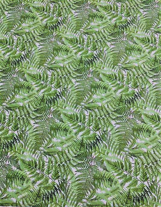 Green Ferns on White - Orchids In Bloom - by Michel Design Works for Northcott Cotton Fabric