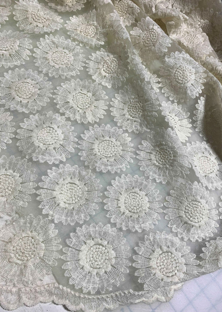 Ivory Sunflowers Floral Embroidered Organza Fabric