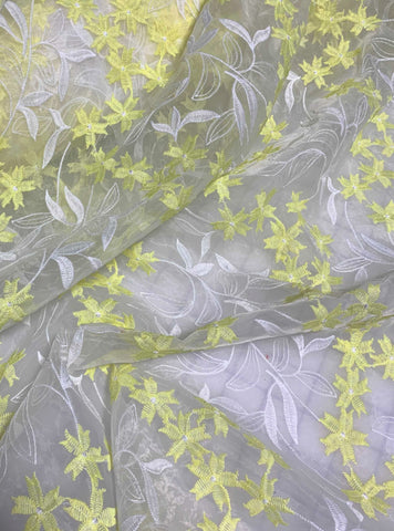 Yellow & White Floral Embroidered Organza Fabric