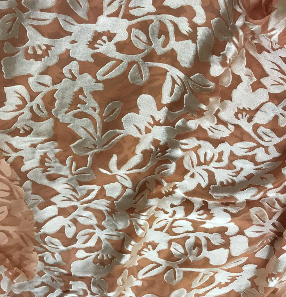 Peach Blush Floral - Hand Dyed Burnout Devore Silk Satin