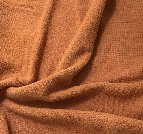Peach Blush - Hand Dyed Squares Weave Silk Noil