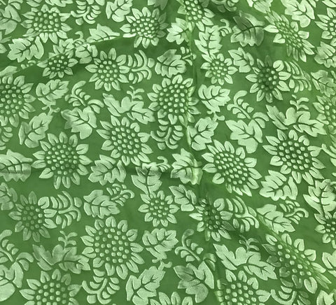 Pear Green Sunflowers Floral - Hand Dyed Burnout Devore Silk Satin