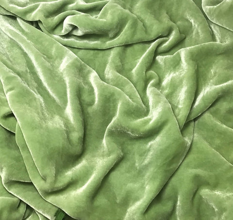 Pear Green - Hand Dyed Silk Velvet