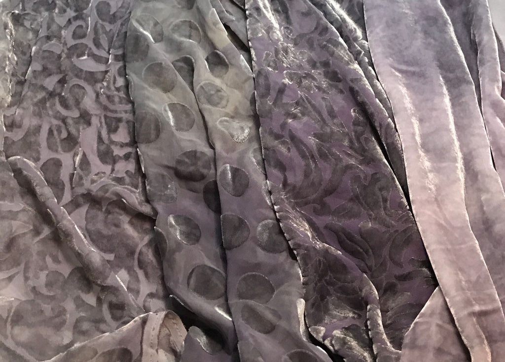 "Pearl Gray Sample Set - Hand Dyed Silk Velvet - 1/4 Yard x 45"" Each"