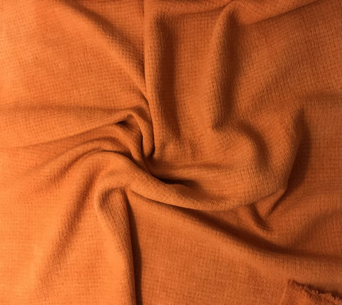 Persimmon Orange - Hand Dyed Squares Weave Silk Noil