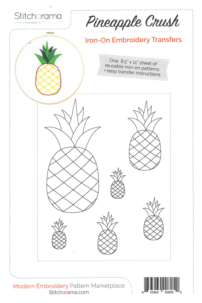 Pineapple Crush Iron-on Embroidery Transfer Pattern -Stitcharama