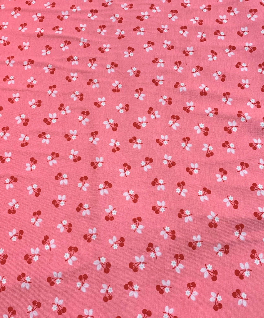Calico Days Red Cherries on Pink - Lori Holt for Riley Blake Fabrics - Cotton Knit